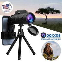 80x100 Hunting Camping Optical Len Monocular Telescope Zoom