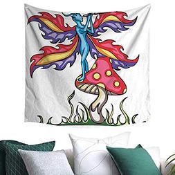 homehot Mushroom Tapestry for Living Room Fairy Elf on Agari