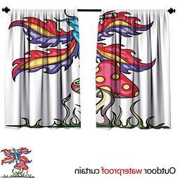 BlountDecor Mushroomsun Block Outdoor Curtain W63 x L72 Fair