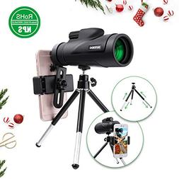 High Power Monocular Telescope, OUTERDO New 12x50 Dual Focus