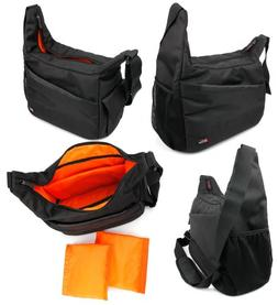 DURAGADGET Rugged Black/Orange Shoulder Sling Carry Bag for