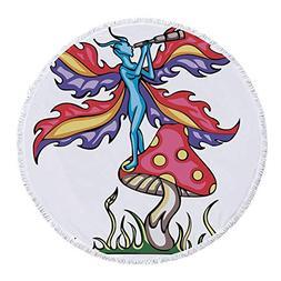 iPrint Thick Round Beach Towel Blanket,Mushroom,Fairy Elf on