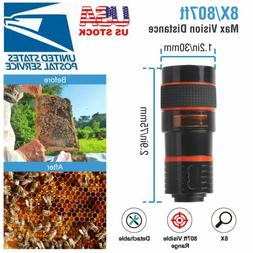 Universal Clip-on 8x Optical Zoom HD Telescope Camera Lens F